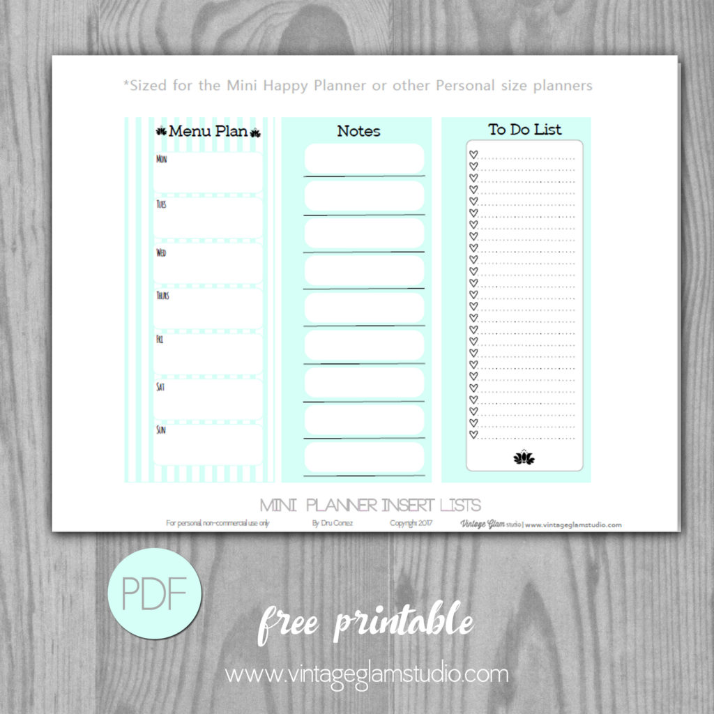 mini happy planner checklist inserts vintage glam studio